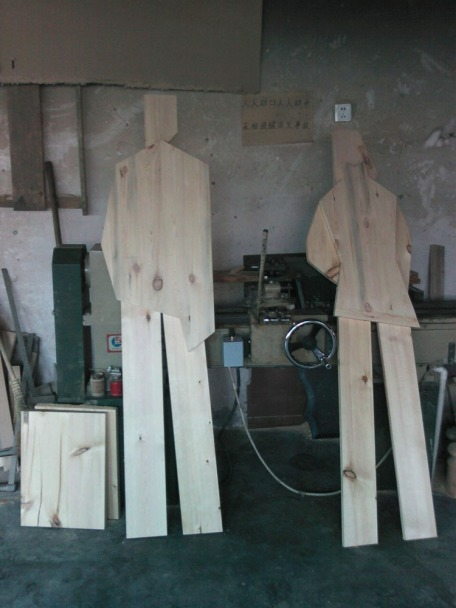 raw wooden mannequin display units, men and women | from drezier's blog [Progress in Making of Furniture and fixture of Sanlitun Flagship Store in Beijing] dated 2010/9/25