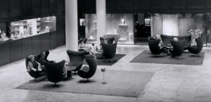 """Lounge Lobby of Royal SAS Hotel"" from drezier's blog [20th Century Masterpieces : : Egg Chair] dated 2017/3/18"