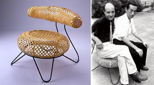 the bamboo basket chair by isamu noguchi and isamu kenmochi, 1950 | from drezier's blog [20th Century Masterpieces : : Round Rattan Chair] dated 2017/4/29