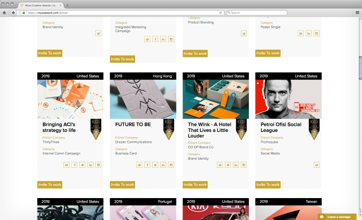"""[Winners' page seen our entry with others winners] Muse creative awards 