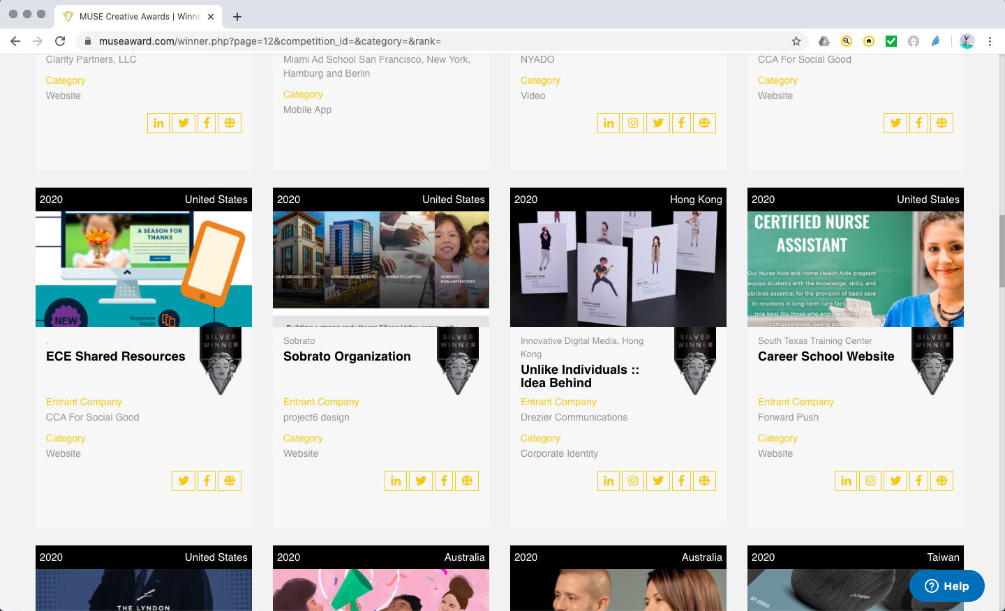 "[Winners' page seen our entry with others winners] Muse creative awards | Silver winner 2020 | Coroporate Identity category | Business Card sub-category | ""Unlike Individuals :: Idea Behind"" of Innovative Digital Media, Hong Kong [Design, Brand Revamp, dynamic branding]"